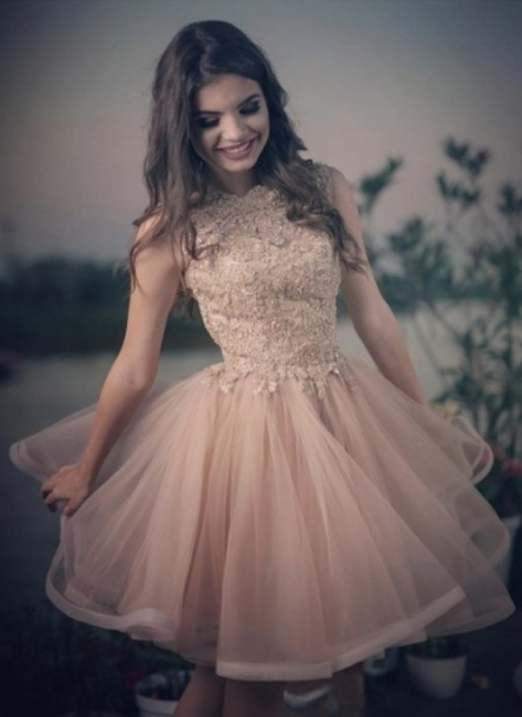 A-line Elegant Lace Tulle Homecoming Dresses