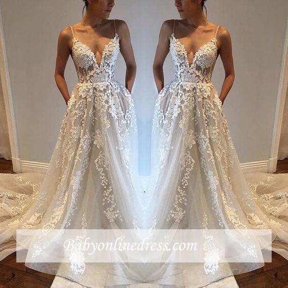 A-Line Appliques Sexy V-Neck Tulle Spaghetti-Straps Wedding Dresses qq0275