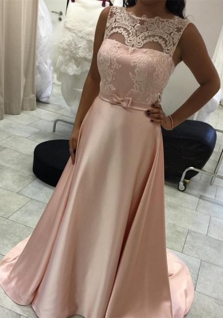 Elegant Long A-Line Evening Dress Lace Sleeveless Prom Dresses