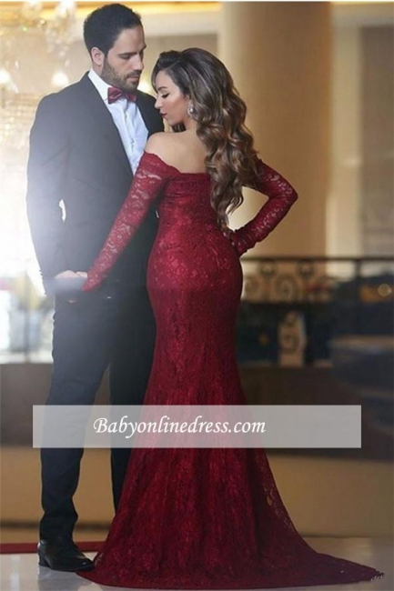 Off-the-shoulder Long-Sleeve Red Elegant Lace Mermaid Long Evening Dress