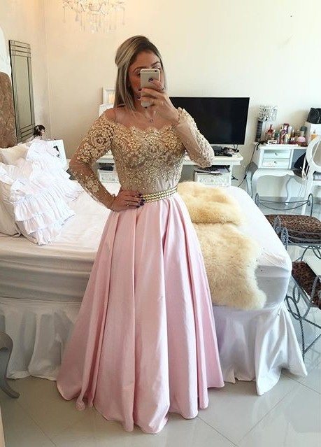 Gold Pink Prom Dresses Long Sleeves Crystals Beaded Off the Shoulder Lace Evening Gowns