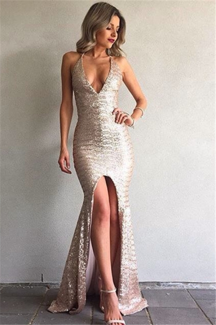 Sexy V-Neck Backless Mermaid Front-Split Sequined Prom Dress 2018