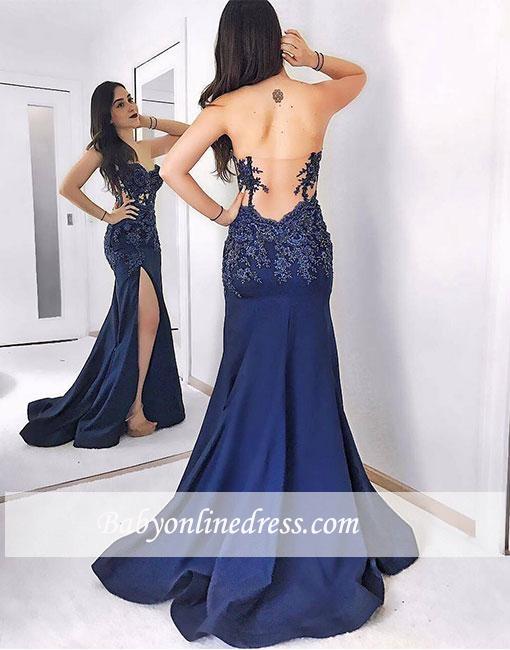 Dark-blue Mermaid Sweetheart Sweep-train Lace Split-front Evening Dress