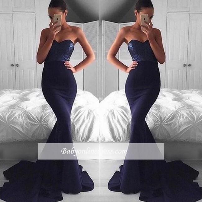 2018 Glamorous Navy Mermaid Sequins Sweetheart Sweep-Train Evening Dress BA5044