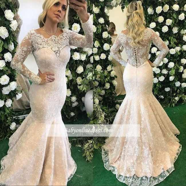 Long-Sleeve Appliques Lace Mermaid Stunning Floor-Length Evening Dress