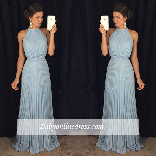 Sexy Halter Sleeveless Prom Dress Long Floor-Length Evening Gowns
