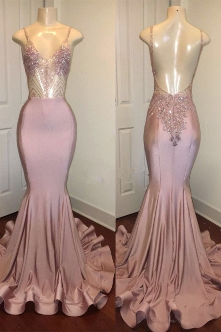 Spaghetti Straps Pink Mermaid Prom Dresses | Backless Sparkling Beads Sequins Evening Gown