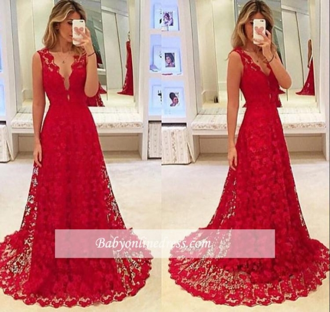Red Lace A-Line V-Neck Evening Gowns 2018 Sleeveless Sweep-Train Prom