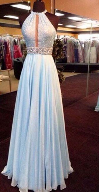 Glamorous A-Line Chiffon Hatler Prom Dresses Crystal Floor Length Evening Gowns