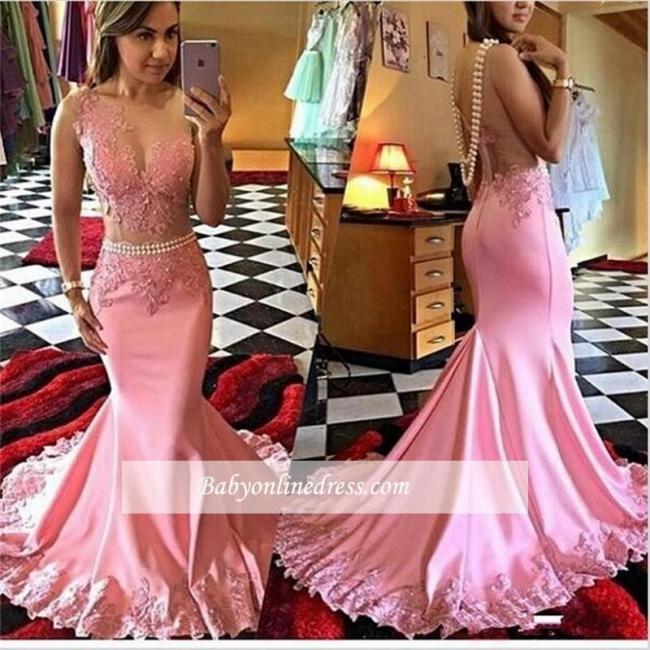 Mermaid Appliques Sexy Sleeveless New sheer Crystal Prom Dress