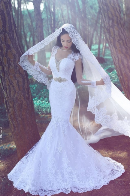 White Mermaid Tulle Appliques Wedding Dresses with Long Sleeves and Beadings