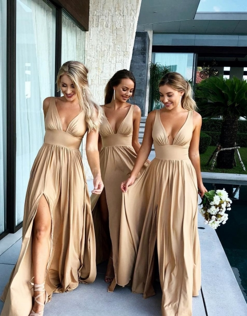 Simple Two Pieces Mermaid Bridesmaid Dresses | Halter Bows A-Line Maid Of The Honor Dresses