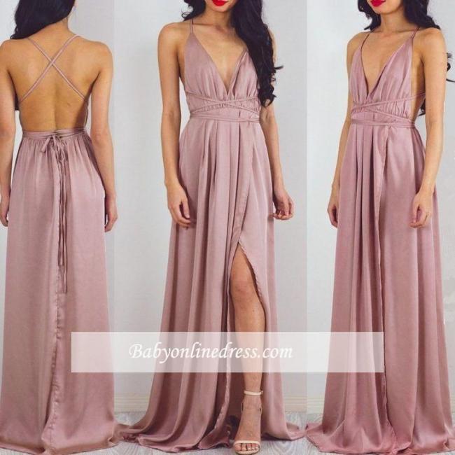 Floor-Length Split Halter Charming V-Neck Prom Dress