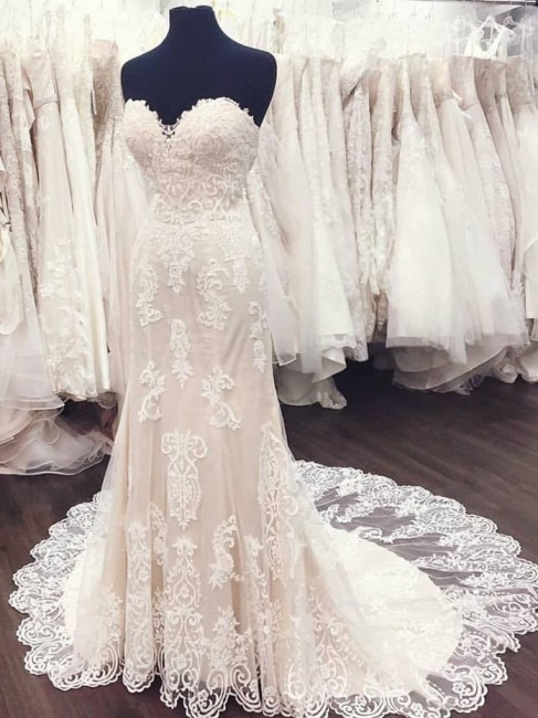 White Sweetheart Gorgeous Lace A-Line Weeding Dresses