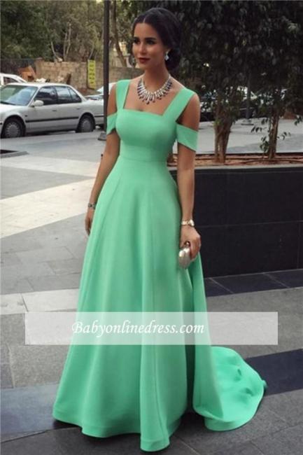Straps Long Elegant Cheap Court-Train Green A-line Empire Evening Dresses