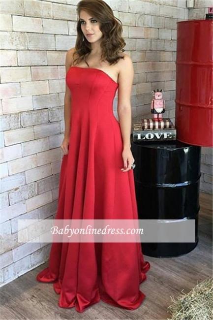 Long Elegant Strapless Natural Red Sleeveless Prom Dresses