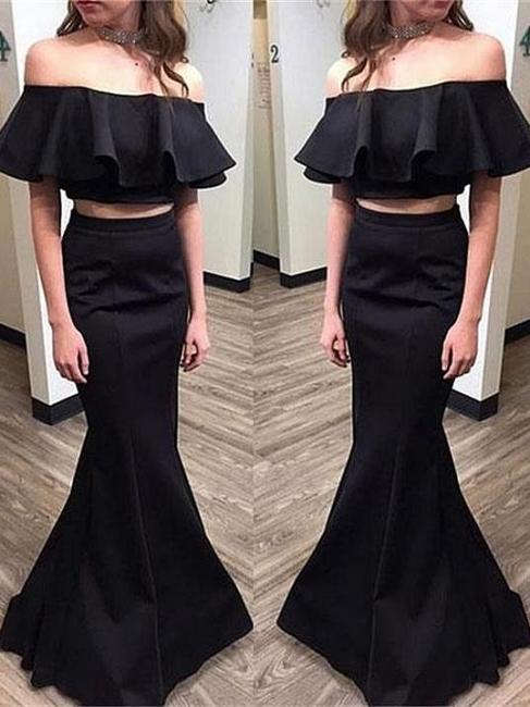 Elegant Black Two Pieces Prom Dresses | Simple Ruffles Mermaid Evening Dresses