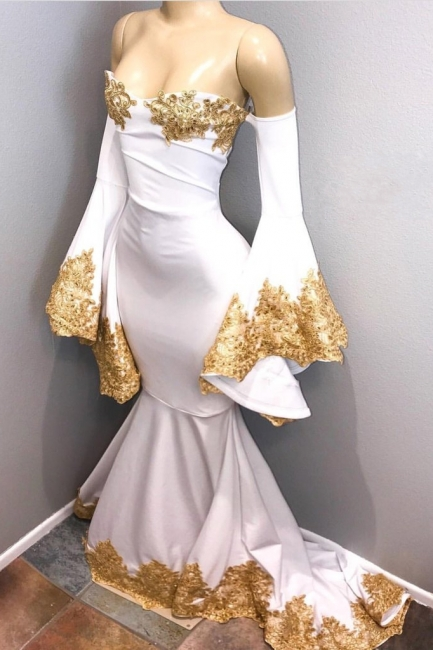 Sweetheart Long Mermaid Prom Dresses | Long Sleeves Gold Appliques Evening Gown