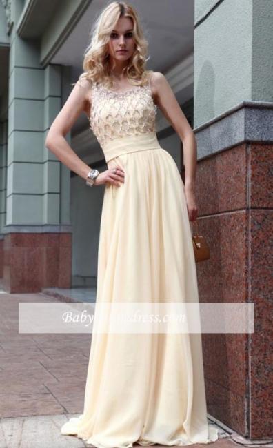 Jewel Zipper A-line Sleeveless Chiffon Prom Dress with Beadings