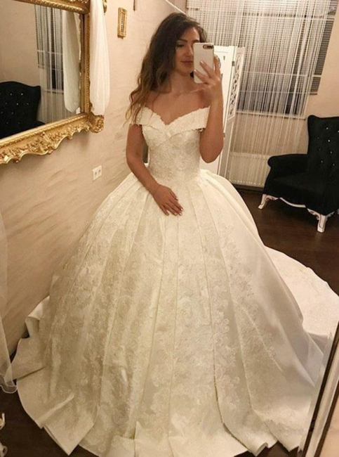 Elegant Ball Gown Wedding Dresses | Off-the-Shoulder Pleated Satin Bridal Gowns
