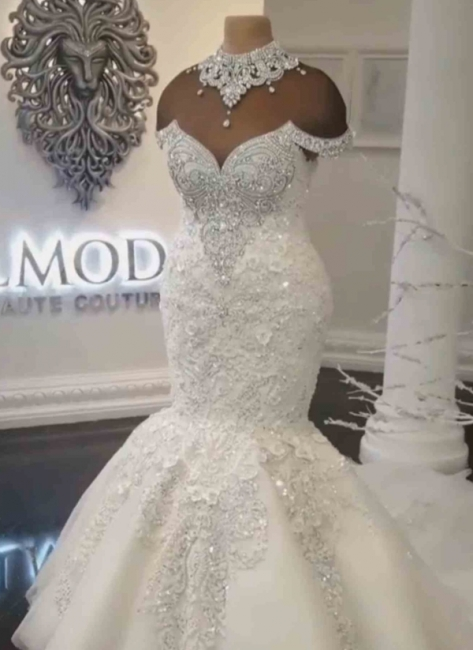 Luxury Crystals Fit and Flare Wedding Dresses | Off-the-Shoulder Appliques Bridal Gowns