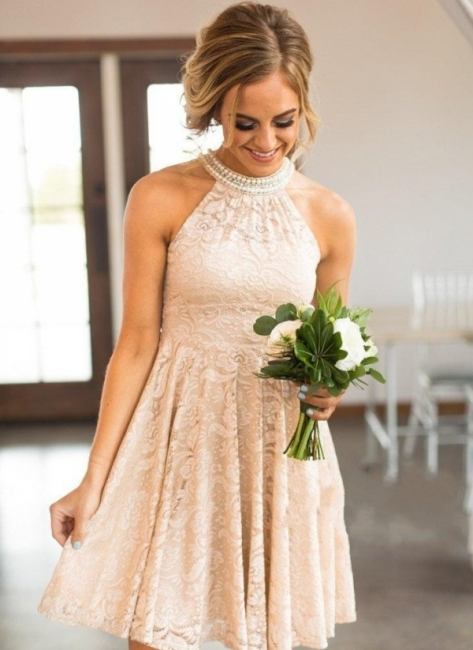 Nude Lace Short Bridesmaid Dresses | Pearls Halter Neck Maid of the Honor Dress