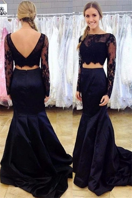 Black Two-Piece Mermaid Prom Dress 2018 Long-Sleeve Open-Back Lace Evening Gowns