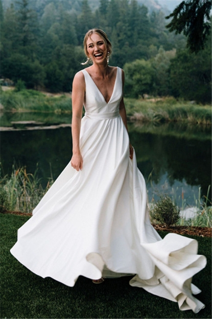 Sexy Straps Plunging V Neck A Line Wedding Dresses | Sash Ruffles Bridal Gown