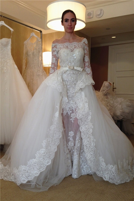 Sparkly Off The Shoulder Long Sleeve Sequin  Sheath Detachable Skirt Wedding Dresses | Lace Bridal Gown