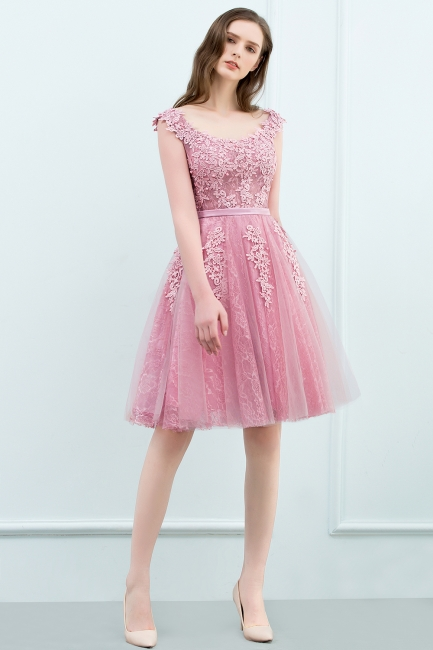 Pink A-Line Homecoming Dresses | Lace Tulle Mini Prom Dresses