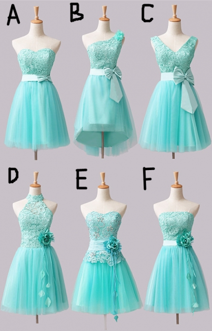 Mini Lace Tulle Short Bridesmaid Dresses with Bowknot Flower