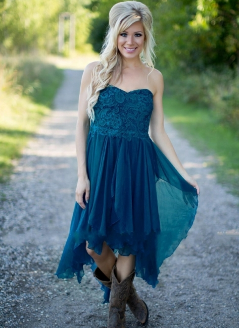 Summer Asymmetrical Short Bridesmaid Dress | Country Chiffon Maid of the Honor Dress
