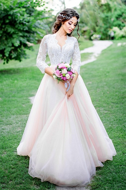 3/4-Length-Sleeve Pink Long Tulle Lace Royal Wedding Dresses