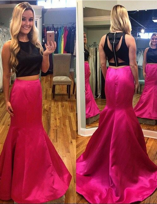 Two Pieces Mermaid Sleeveless Prom Dresses Strech Satin Sweep Train Party Dress