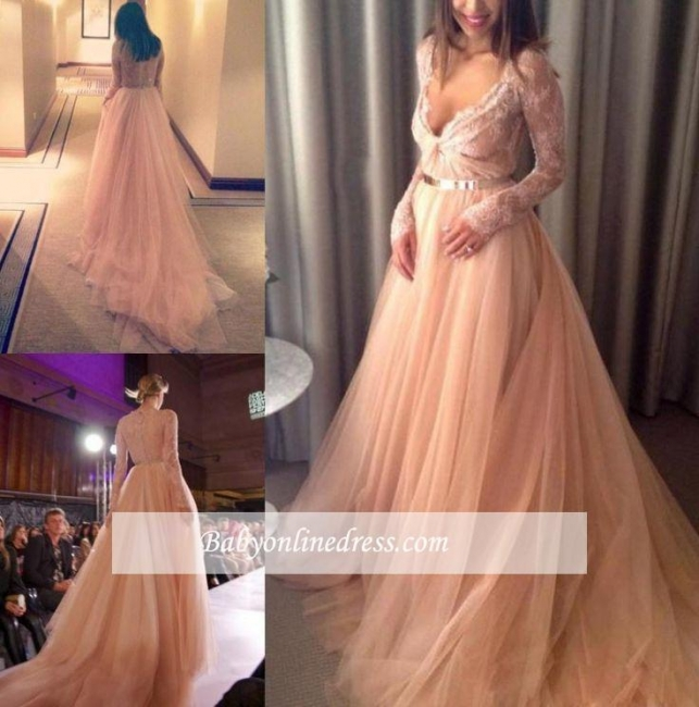 Beautiful Tulle Long Party Gowns Lace V-Neck Long-Sleeve Evening Dress