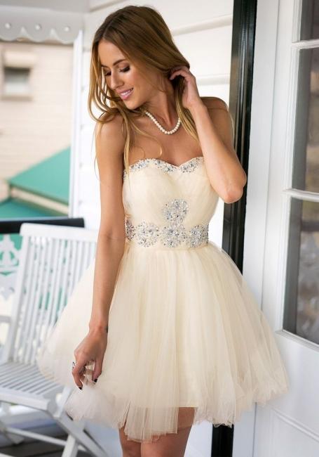 Sweetheart Crystals Short Homecoming Dresses Elegant Graduation Dresses