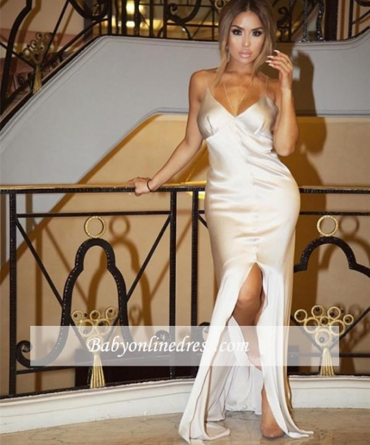 Sheath Sexy Split White V-Neck Spaghetti-Straps Prom Dress