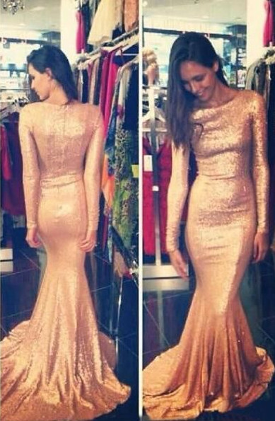 Sequins Prom Dresses Long Sleeves Simple Long Mermaid Evening Gowns