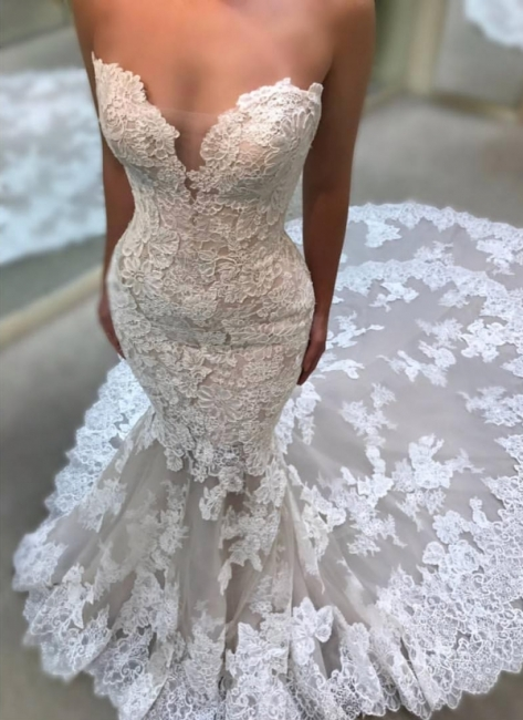 Elegant Sweetheart Wedding Dresses | Lace Appliques Sleeveless Bridal Gowns