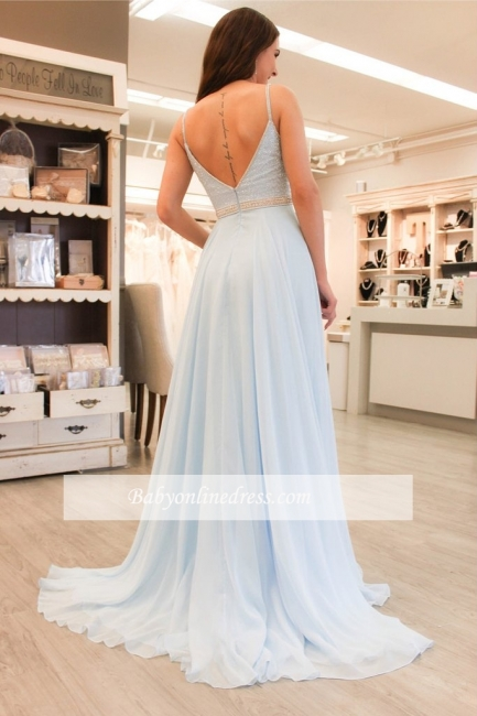 Chiffon A-line Elegant Sleeveless Beads Spaghetti-Strap Prom Dress