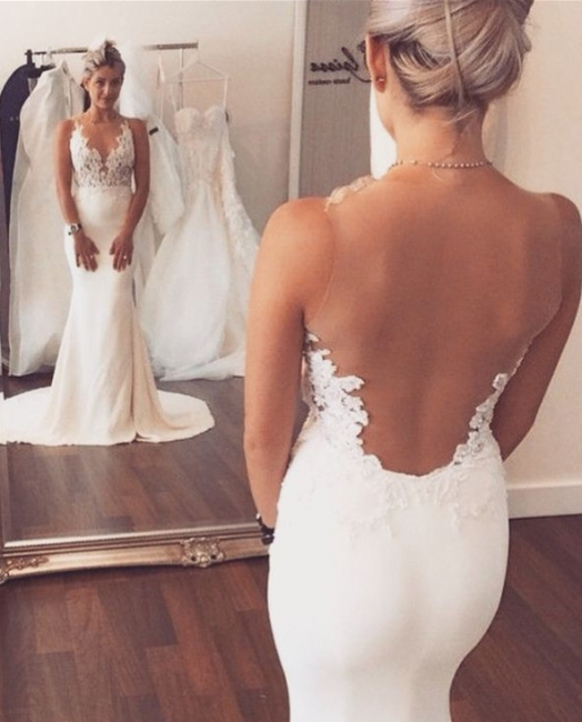Sheer Back Appliques Classic Mermaid Wedding Dresses with Court Train