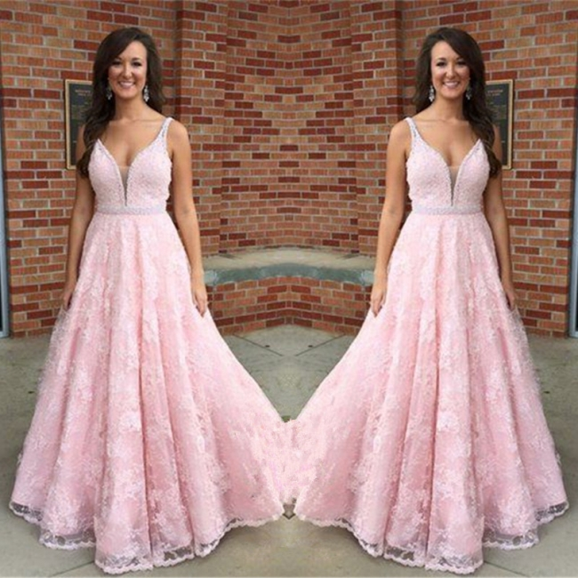 Elegant Pink V-Neck Prom Dress 2018 Sleeveless Lace Crystal Evening Gowns