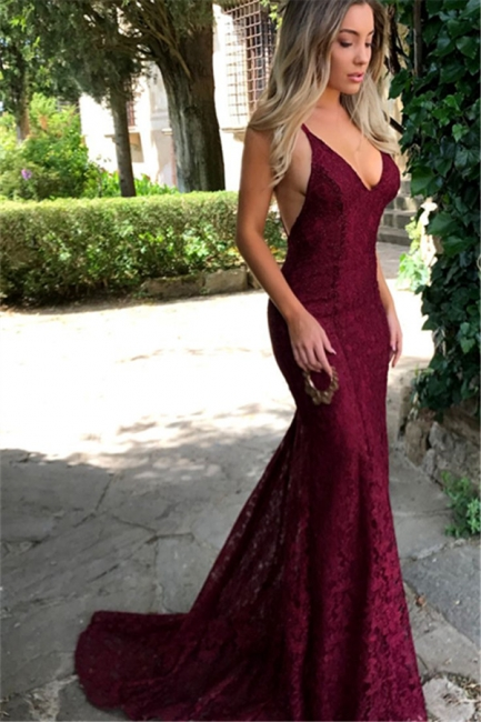 Amazing Lace Maroon Prom Dresses 2018 V Neck Spaghetti Strap Long Evening Dress