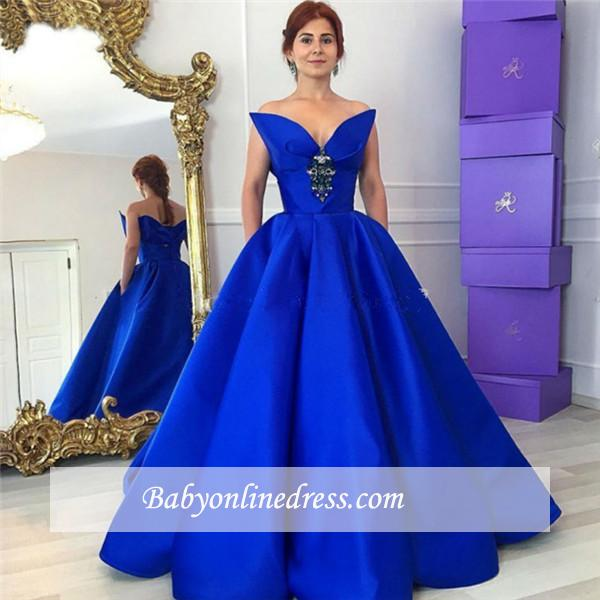 Elegant Royal Blue Crystal Prom Dress Ball-Gown Floor-Length Evening Gowns