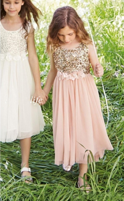 Pink Flower Girl's Dresses Sequins with Handmade Flowers Girl's Formal Dress