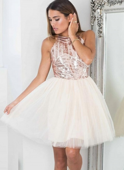 Shiny Tutu A-Line Homecoming Dresses | Halter Sequins Tulle Mini Cocktail Dresses