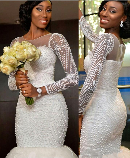 Gorgeous Tulle Long-Sleeve Wedding Dress with Zipper and Beadings