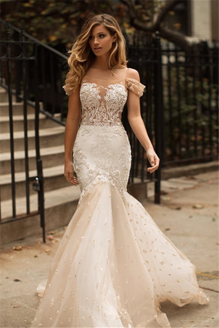 Newest Mermaid Appliques Off-the-Shoulder Tulle Wedding Dress