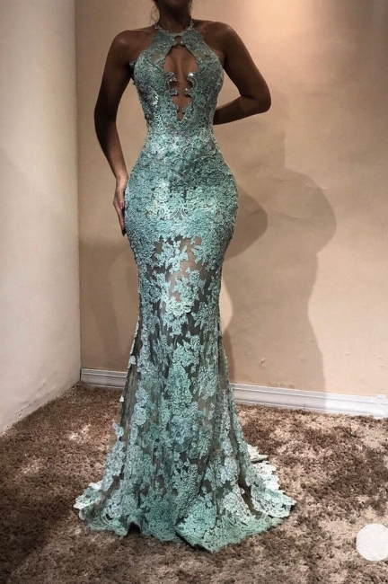 Halter Sheer Prom Dresses | Lace Appliques Sleeveless Mermaid Evening Gown