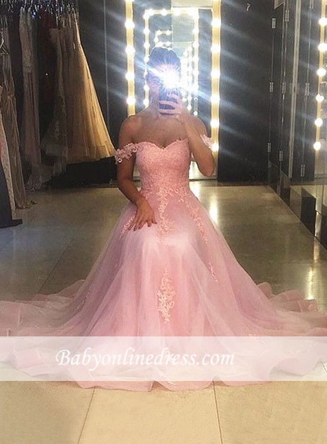 Sweetheart-neck Sweep-trian Pink A-line Sleeveless Lace Evening Dress